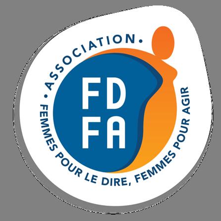 Logo de l'association Femmes pour le Dire, Femmes pour Agir présentant une silhouette féminine stylisée dans des tons orangés et un cercle bleu dans lequel s'inscrivent en blanc les lettres FDFA