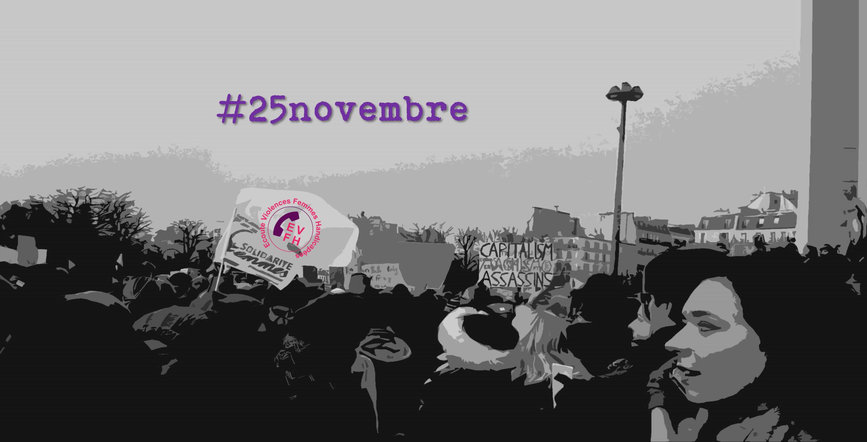 Image d'illustration avec une manifestation féministe et #25novembre
